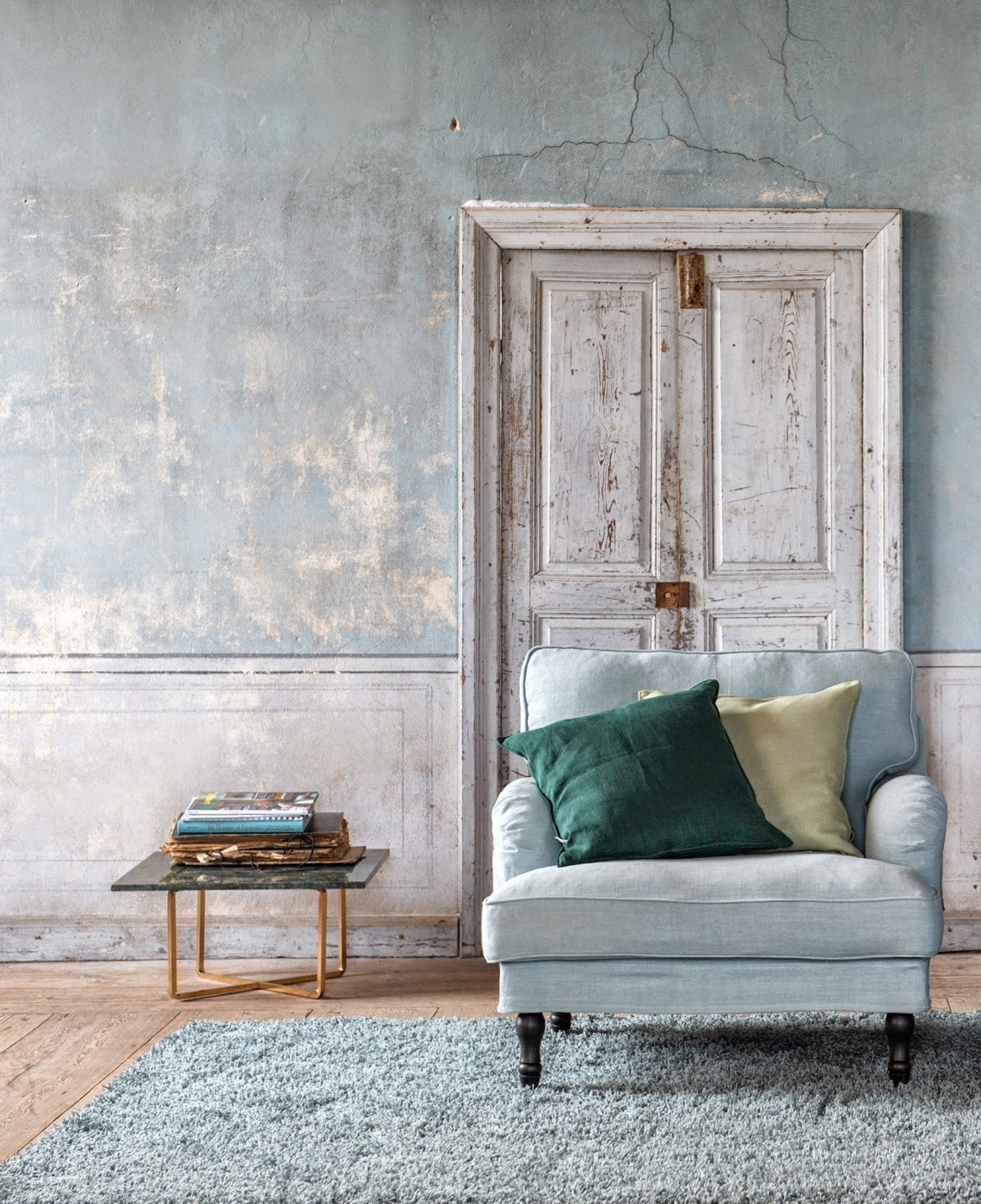 besk armchair cover blue rough luxe style