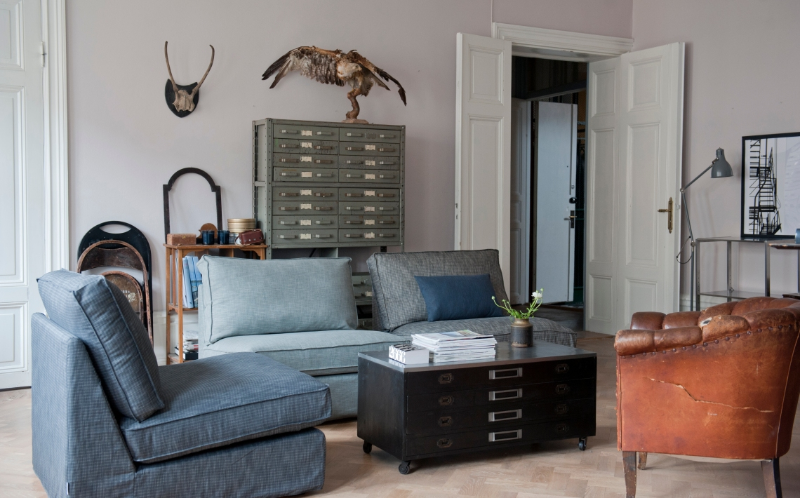 vintage style bemz sofa cover blue green ikea hack