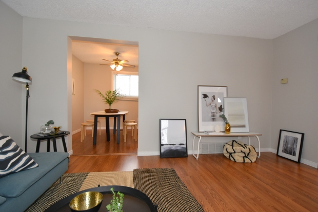 living room home staging, scandinavian style, modern style, dining room staging