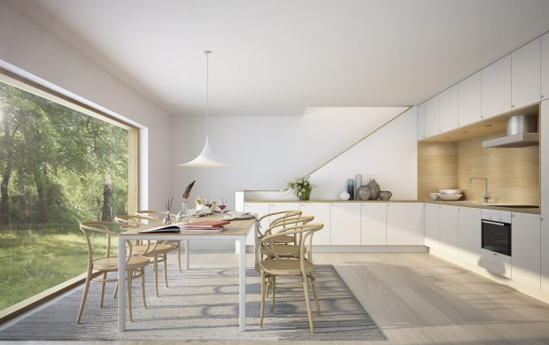 modern kitchen, bentwood chairs