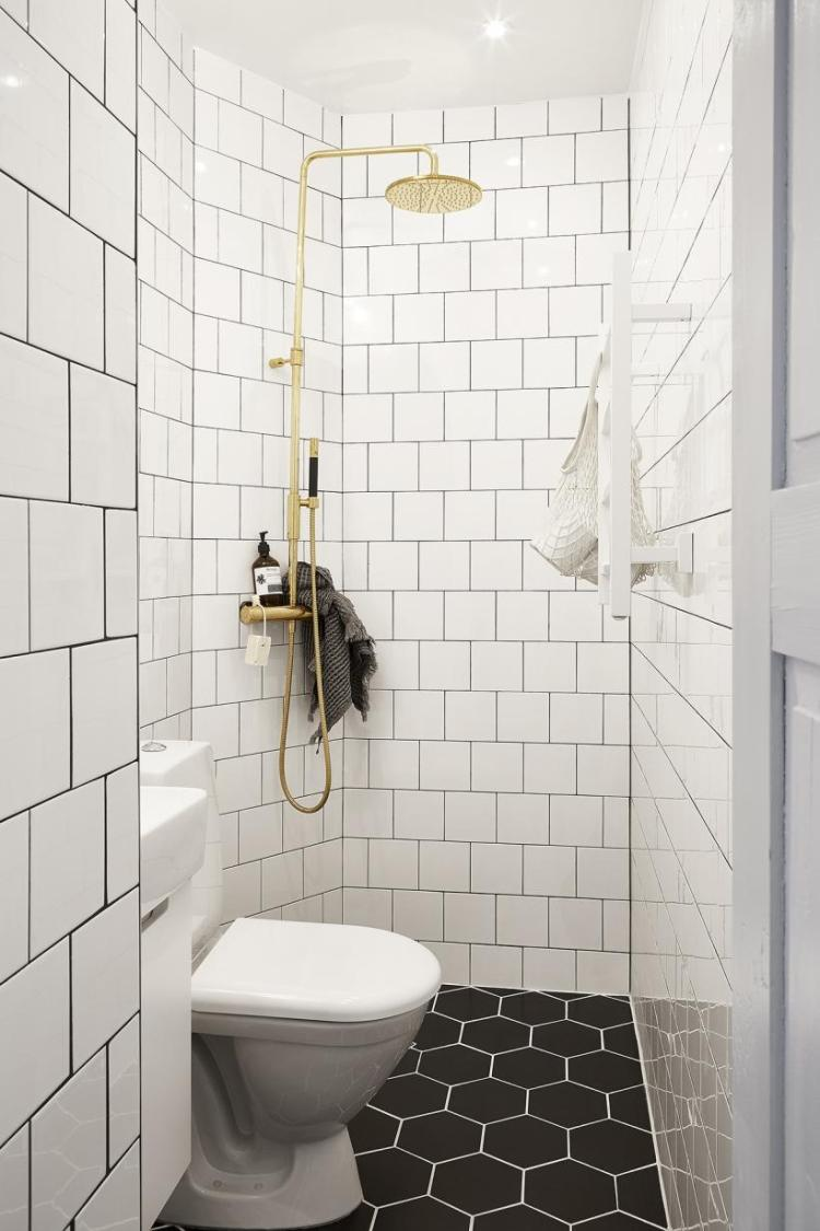 minimal bathroom, gold shower